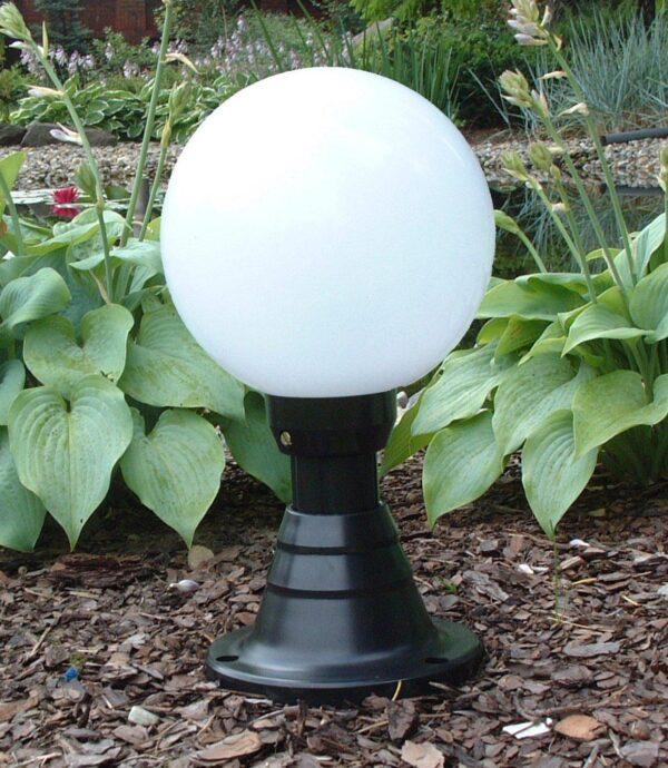 Lampy ogrodowe wys. 45 cm, kula biała 250 mm