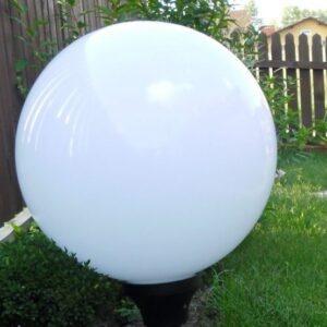 Klosze ogrodowe białe z oprawą i żarówką LED 450 mm