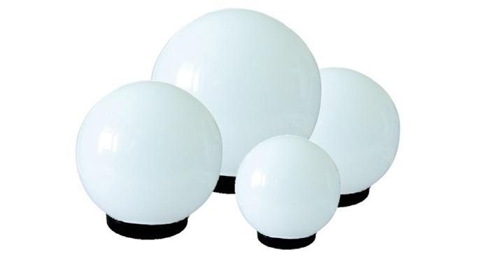 Zestaw 4 białych kloszy z oprawą i żarówką LED