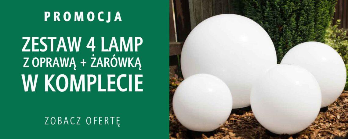 Promocja!, zestaw czterech lamp ogrodowych, klosz kula biała, różne rozmiary