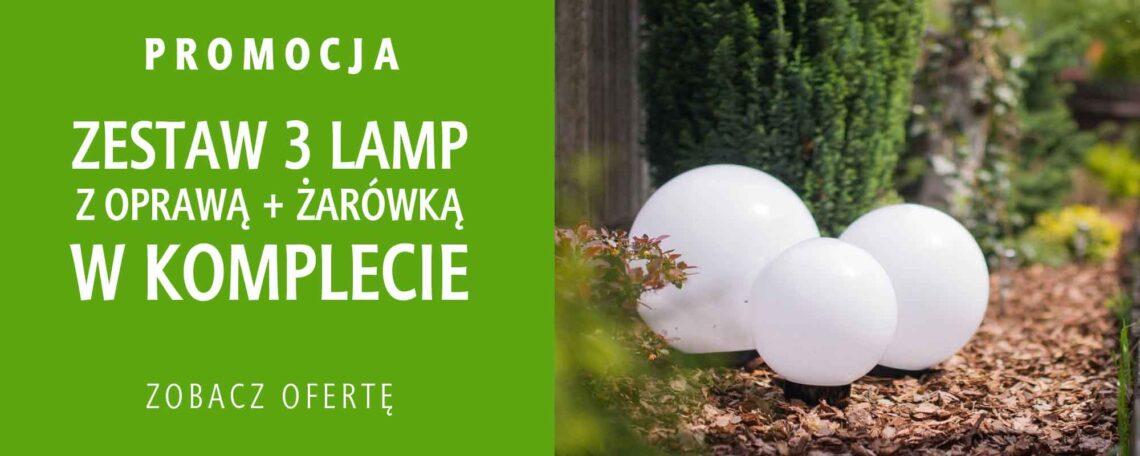 Promocja!, zestaw trzech lamp ogrodowych, klosz kula biała, różne rozmiary