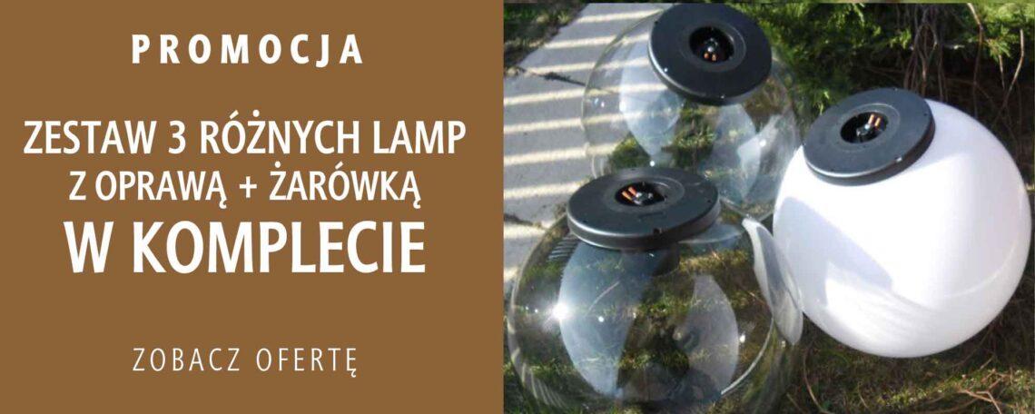 Promocja!, zestaw trzech różnych lamp ogrodowych, klosz kula, różne rozmiary