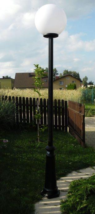 Lampy parkowe wys. 2.2 m, klosz biały 400 mm