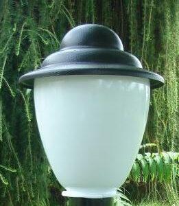 Klosze ogrodowe amfora z daszkiem z oprawą i żarówką LED 250 mm