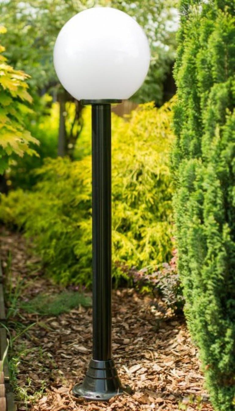 Lampy ogrodowe wys. 145 cm, kula biała 250 mm