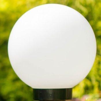 Klosze ogrodowe białe z oprawą i żarówką LED 250 mm
