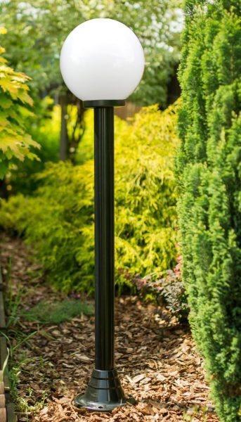 Lampy ogrodowe wys. 140 cm, kula biała 200 mm