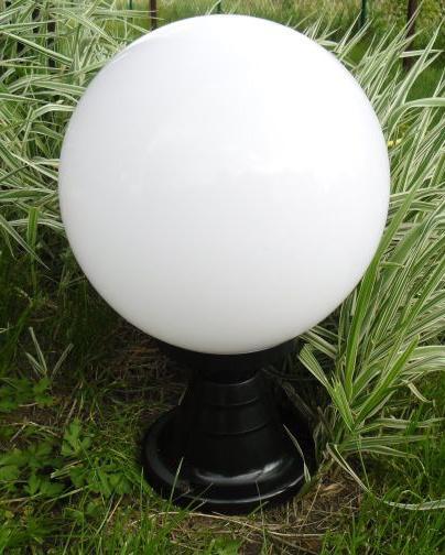 Lampy ogrodowe wys. 50 cm, kula biała 300 mm