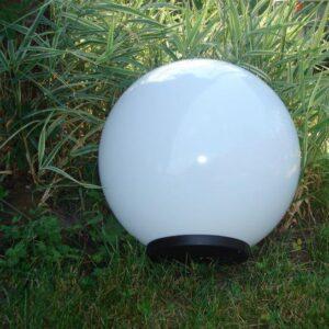 Klosze ogrodowe białe z oprawą i żarówką LED 400 mm