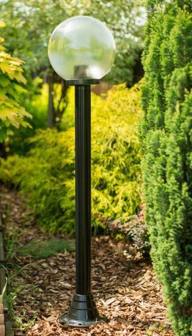Lampy ogrodowe wys. 140 cm, kula przeźroczysta 200 mm